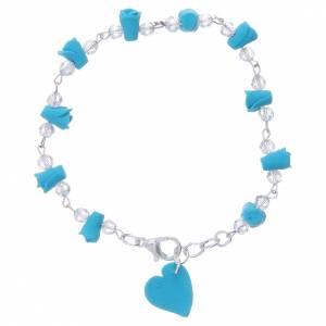 Bracelets, dizainiers: Bracelet Medjugorje turquoise roses et coeur céramique
