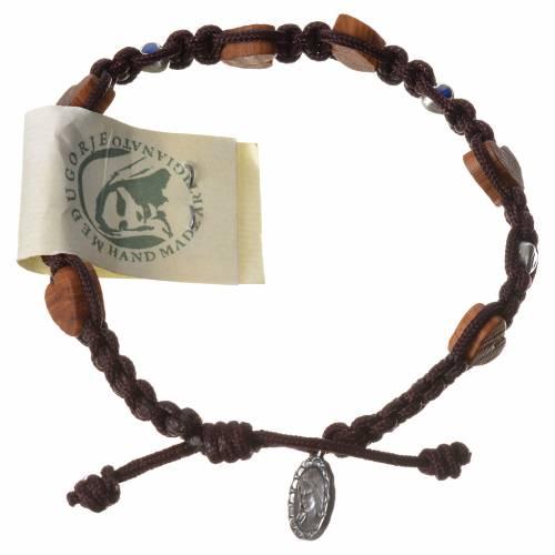 Bracelet olivier coeur Medjugorje corde marron s1