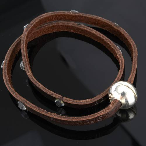 Bracelet Swarovski et cuir inscription Medjugorje s4