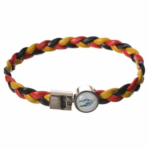 Bracelet tressé 20 cm Vierge Miraculeuse jaune/noir/rouge s1