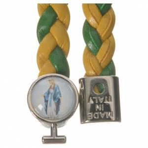 Bracelet tressé 20 cm Vierge Miraculeuse jaune/vert s2