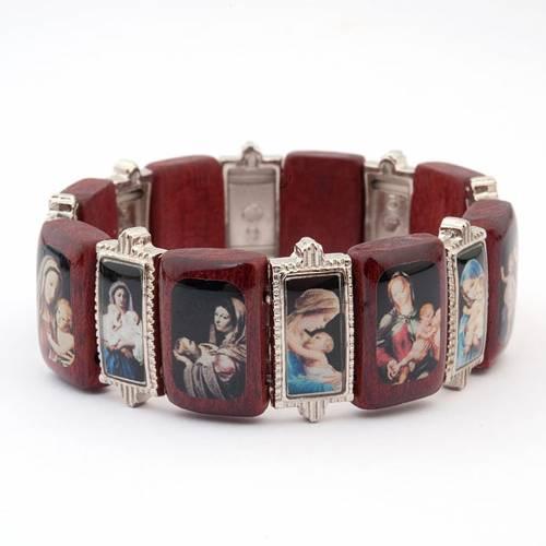 Bracelet-chapelet, Vierge, bois, métal s2