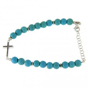 Silver bracelets: Bracelet with 6 mm spheres in turquoise paste and black zircons