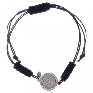 Silver bracelets: Bracelet with cord and Miraculous medalet in 925 sterling silver