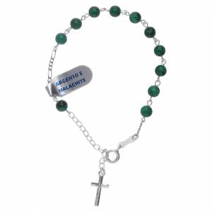 Gold and silver bracelets: Bracelet with cross charm and 5 mm malachite beads