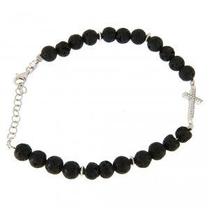 Silver bracelets: Bracelet with lava stone beads and white zirconate cross