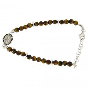 Silver bracelets: Bracelet with medalet, black zircons and tiger's eye beads