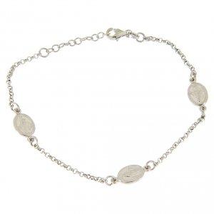Silver bracelets: Bracelet with medalets applied in line in 925 sterling silver