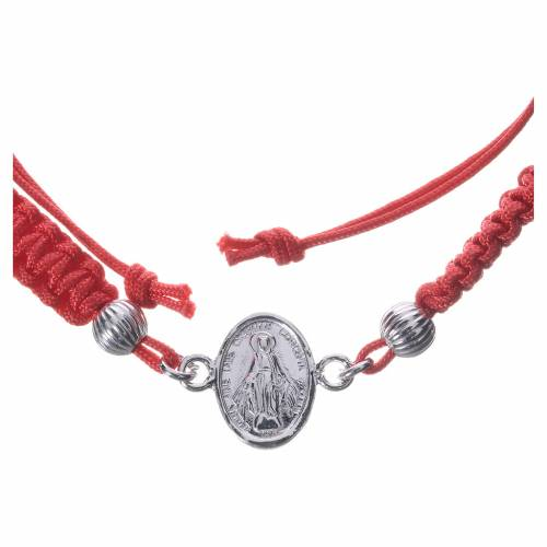 Bracelet with Miraculous Medal in 800 silver and red cord s2