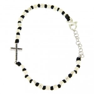 Silver bracelets: Bracelet with multifaceted silver beads sized 2 mm on a black cotton cord and a black zirconate cross