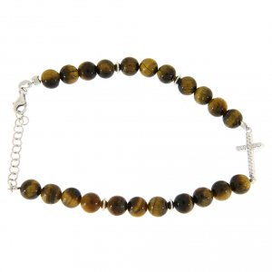 Silver bracelets: Bracelet with smooth tiger's eye balls, a cross with white zircons in 925 sterling silver