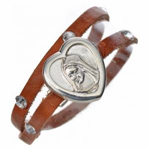 Bracelet with Swarovski in tan leather with Virgin Mary pendant s1