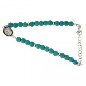 Silver bracelets: Bracelet with turquoise paset beads, Saint Rita medal and black zircons, in 925 sterling silver