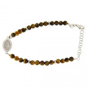 Silver bracelets: Bracelet with white zirconate medal and tiger's eye beads