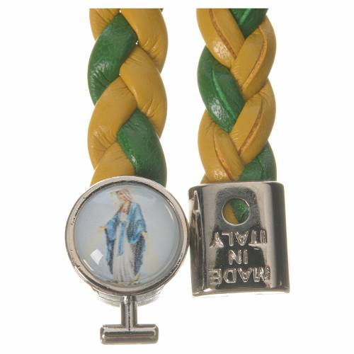 Braided bracelet, 20cm green and yellow with Miraculous Medal s2