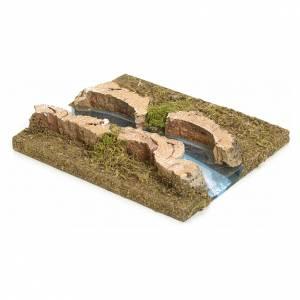 Ponts, ruisseaux, palissades pour crèche: Bras de rivière droit pour crèche 14x16 cm