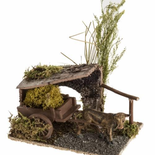 Bue con carretto di lichene ambientazione 8-10 cm s1