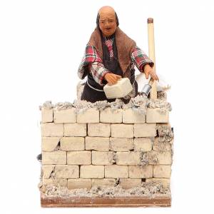 Builder with setting, Neapolitan nativity figurine 10cm s1