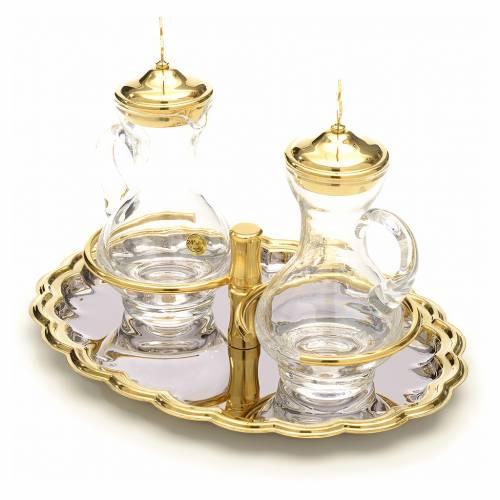Burettes en verre, plateau nickelé et doré s2
