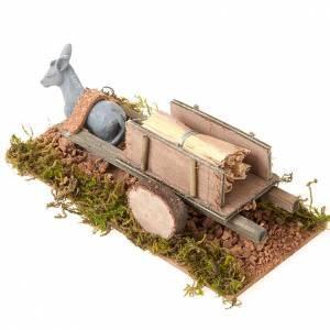 Animales para el pesebre: Burro con carrito cargado de paja 8 cm