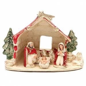 Belén terracota Deruta: Cabaña con Natividad decoración roja 20x14x18 cm