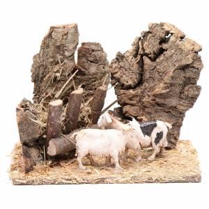 Casas, ambientaciones y tiendas: Cabras al comedero escenografía belén cm. 10 x 15 x 10