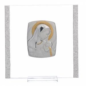 Cadre Baptême Argent et strass maternité 17,5x17,5 cm s1