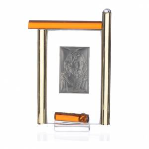 Cadre Christ arg. et verre Murano ambre h 9 cm s2