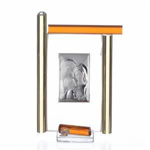 Bonbonnières: Cadre Ste Famille arg. et verre Murano ambre h 9 cm