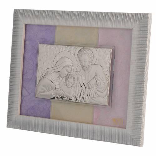 Cadre Ste Famille argent rose-lilas 18x22 cm s2