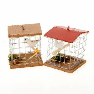 Cage avec oiseau, pour crèche 10cm s1