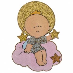 Calamita legno natalizia Gesù Bambino con stella s1