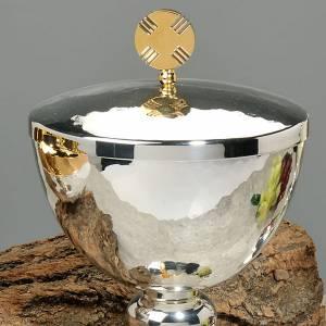 Calice e pisside ottone martellato cesellato a mano croce vetro s2
