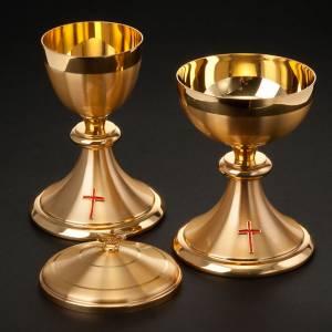 Calices Ciboires Patènes en métal: Calice et ciboire dorés avec croix