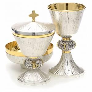 Calice pisside e patena ottone cesellato argento scene sacre s3