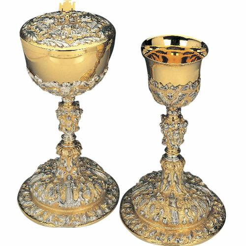 Calice pisside ottone argento 925/00 angeli simboli eucaristici s1