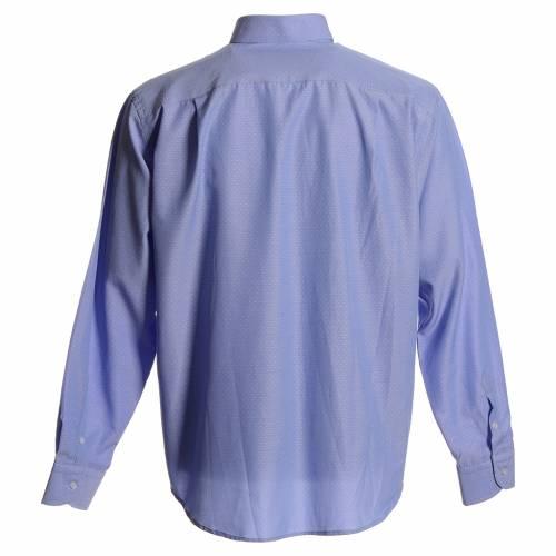 Camicia clergy cotone poliestere celeste s2