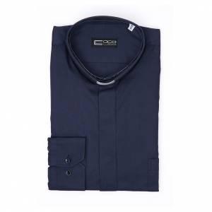 Camicia clergy M. Lunga Facile stiro Diagonale Misto cotone Blu s3