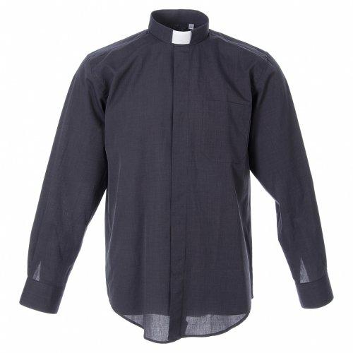 STOCK Camicia clergy manica lunga filafil grigio scuro s1