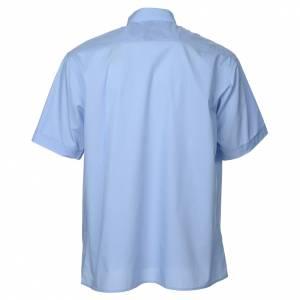 Camisas Clergyman: Camisa clergy de popelina manga corta celeste