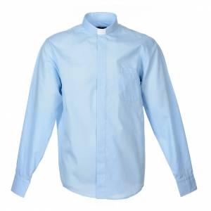 Camisas Clergyman: Camisa Clergy Manga Larga Color Uniforme Mixto Algodón Celeste
