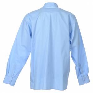 Camisas Clergyman: Camisa de sacerdote manga larga algodón popeline azul claro
