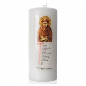 Candela San Francesco d'Assisi 15x6 cm bianco s1