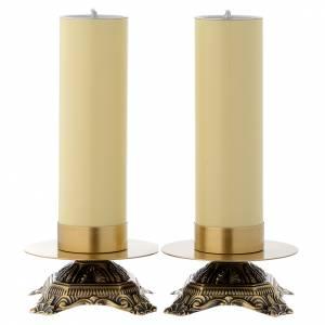 Candelieri metallo: Candeliere da altare ottone base bassa
