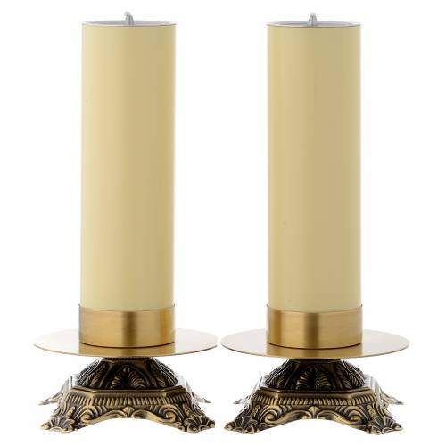 Candeliere da altare ottone base bassa s1