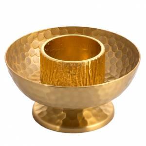 Candeliere da mensa ottone dorato martellato s1