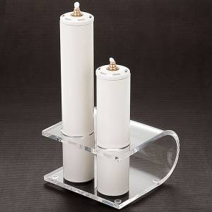 Candle holder in plexiglas with 2 candles s3