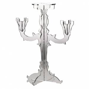 Candelabra: Candlestick in transparent plexiglass with 3 flames