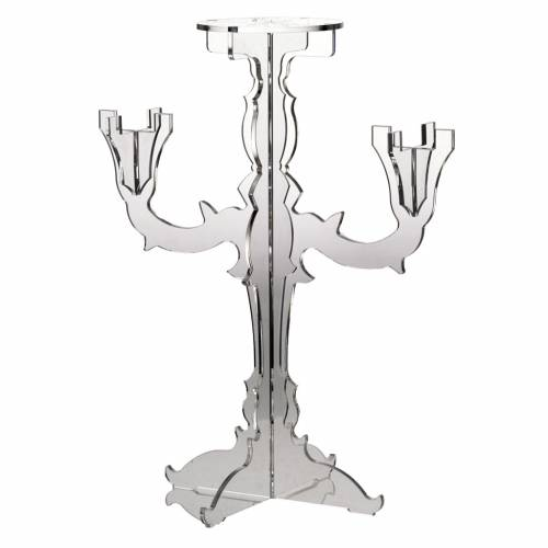 Candlestick in transparent plexiglass with 3 flames s1