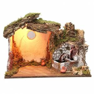 Capanne Presepe e Grotte: Capanna presepe illuminata 36x50x26 cm con mulino ad acqua